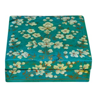 Teal Floral Paper Mache Box For Sale