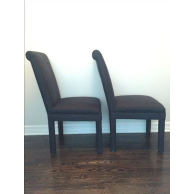 Vintage Black Upholstered Parson Chairs - A Pair - Image 3 of 7