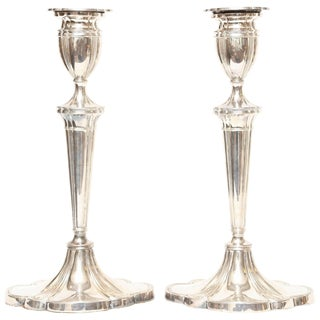 Pair of Tall English Sterling Candlesticks For Sale