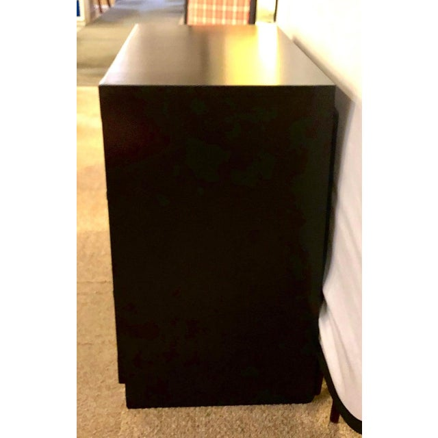 Campaign Style Ebony Chest / Dresser or Nightstand Attributed to Baker For Sale - Image 12 of 13