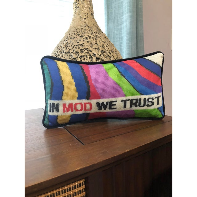 In Mod We Trust. Amen. Mod is a cotton sateen reproduction of an original needlepoint design. 12 x 2 x 6.5 private label...