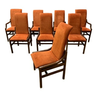 1970s Vintage Henredon Walnut Dining Chairs- Set of 8 For Sale