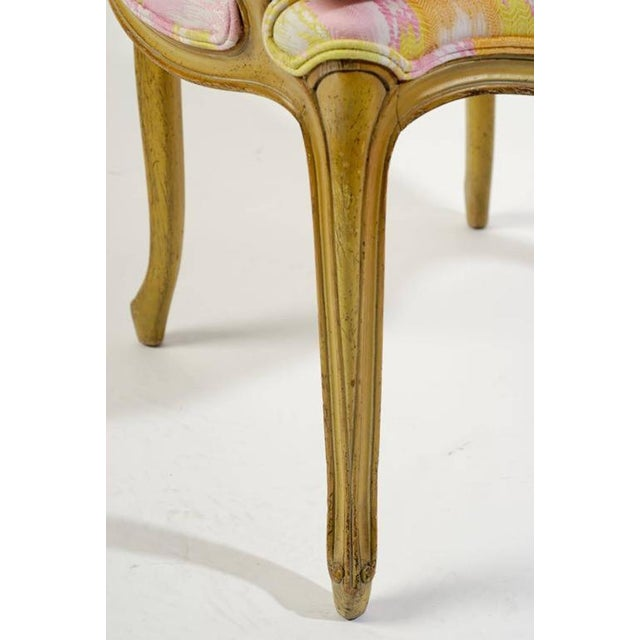 Pink Pair of 1940s Louis XV Style Fauteuils in Colorful New Flamestitch Upholstery For Sale - Image 8 of 8