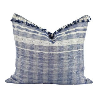 Boho Chic Blue and White Tassle Pillow For Sale