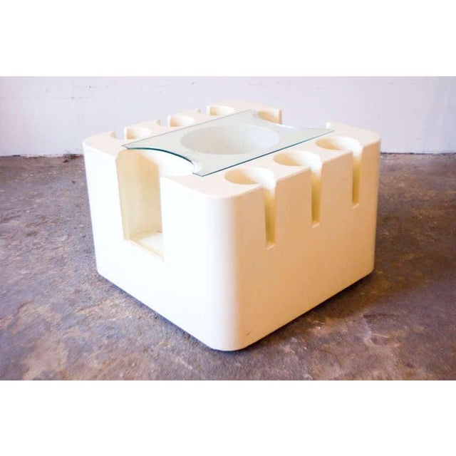 "This off-white ABS plastic and glass ""Bacca"" bar cart by Sergio Mazza features ample bottle and bar tool storage. It..."