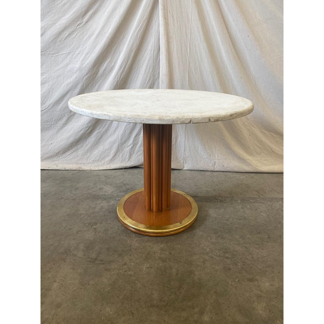 Round Stone Top Italian Pedestal Dining Game Table - Mid Century For Sale - Image 10 of 10
