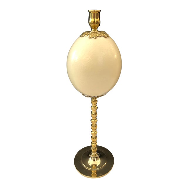 Italian Ostrich Egg & Polished Brass Candle Holder For Sale