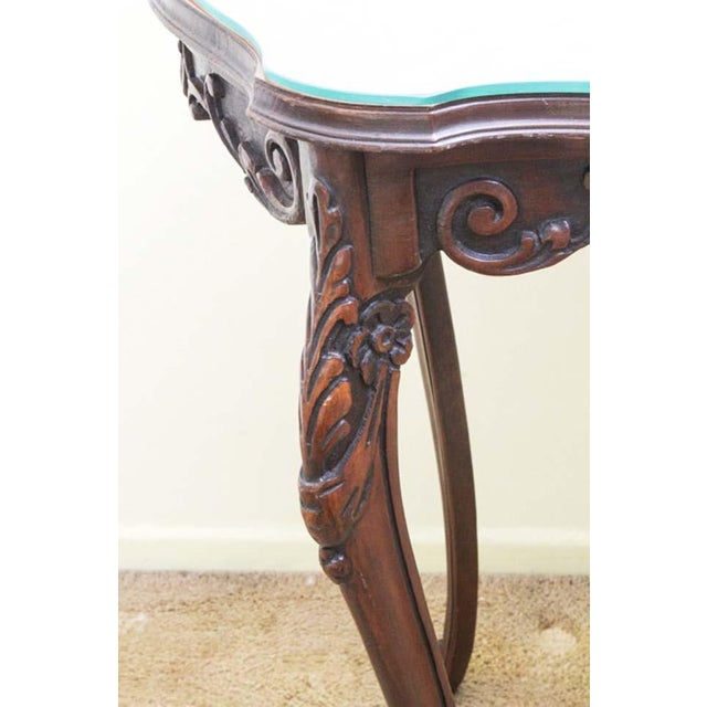 Antique Rococo Style Turtle Shaped Top Scrolled Inlay And Custom Glass Side Table For