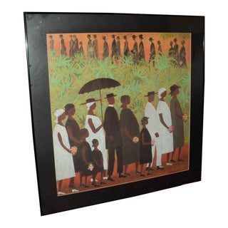 """Large African American Ellis Wilson """"Funeral Procession"""" Lithograph Poster"""