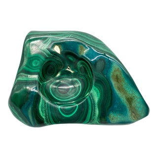 Organic Modern Carved Green Malachite Trinket Dish For Sale