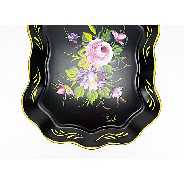 Vintage Hand Painted Floral Tray by Nashco Products - Image 3 of 6