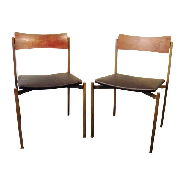 Mid-Century Floating Seat Metal Chairs - A Pair - Image 1 of 8