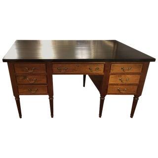 Warm Walnut Partners Desk With Ebonized Top For Sale
