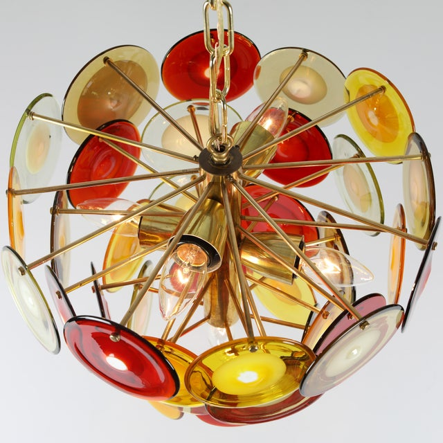 1960s 1960's VINTAGE VISTOSI MURANO GLASS DISC CHANDELIER For Sale - Image 5 of 9