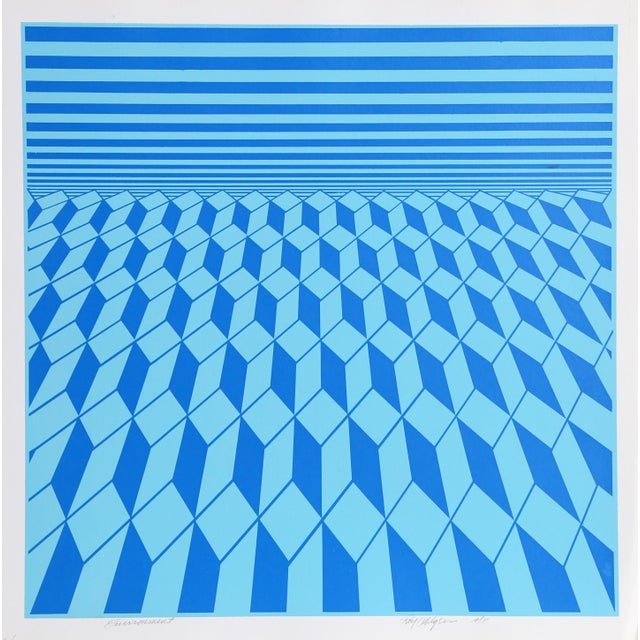 """""""Environment (Blue)"""" Op Art Serigraph by Roy Ahlgren For Sale - Image 4 of 4"""