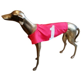 Life-Size Mid-Century Brass Greyhound With Racing Jacket For Sale
