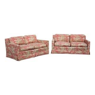 Toile Loveseats With Down Filled Cushions - a Pair For Sale