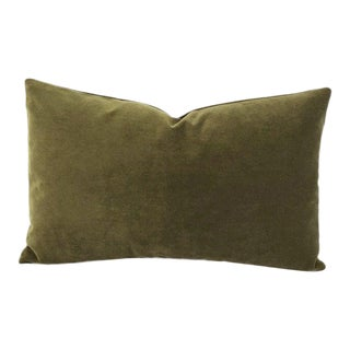 """Kravet Delta Velvet in Loden Green Lumbar Pillow Cover - 12"""" X 20"""" Solid Moss Green Velvet Rectangle Cushion Case For Sale"""
