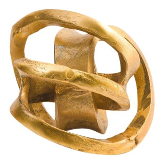 Abstract Gold Orb Twist Sculpture For Sale