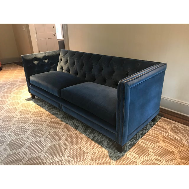 Traditional Kravet Malibu Blue Velvet Sofa For Sale - Image 3 of 7