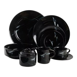 1980s Mikasa Galleria Opus Black Dinnerware Full Set - 50 Piece Set For Sale
