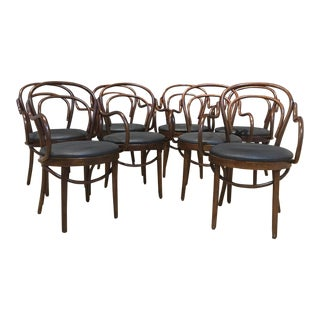 Mid-Century Modern Bentwood Dining Chairs With Black Upholstery by Shelby Williams- Set of 8 For Sale