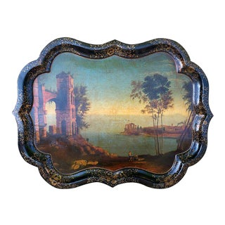 English 1850 Papier Mache Tray with Chippendale Rim For Sale