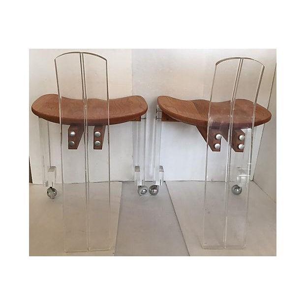 italian 70 s wood lucite chairs pair chairish