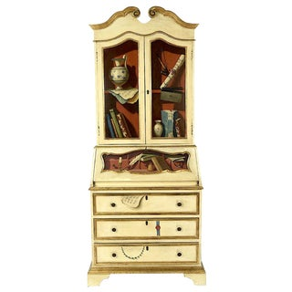 Trompe l'Oeil - Italian Hand Painted Secretary For Sale