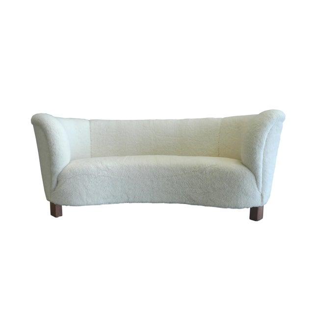 White 1940s Slagelse Mobelvaerk Danish Banana Sofa For Sale - Image 8 of 8