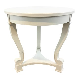 Arteriors Transitional White Lacquer Finished Wood End Table For Sale