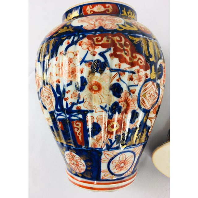 Late 19th Century 19th Century Hand Painted Japanese Vase With Lid For Sale - Image 5 of 11