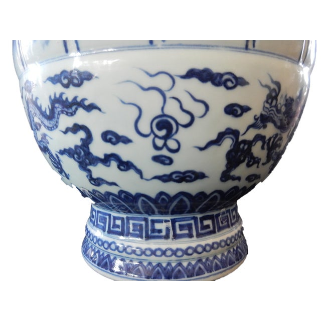 Ceramic B & W Lotus Flower Vase w/Dragon For Sale - Image 7 of 10