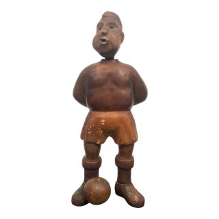 Hand Carved Original Sculpture of a Soccer Player For Sale