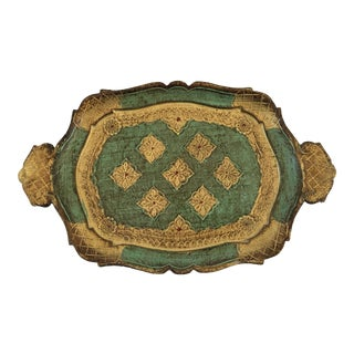 Mid-Century Gilt & Green Wooden Florentine Handled Tray - Italy For Sale