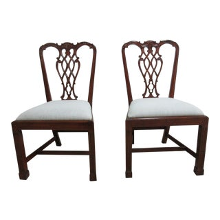 Antique Mahogany Chippendale Carved Leg Dining Chairs - A Pair