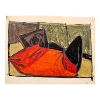 """Donald Stacy """"Red Blanket"""" C.1950s Gouache Mid Century Figure Painting For Sale"""
