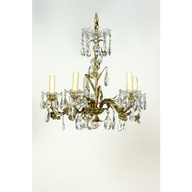 Swedish Brass and Crystal Chandelier - Image 2 of 4