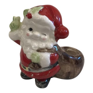 Mid-Century Winking Santa Candle Holder For Sale
