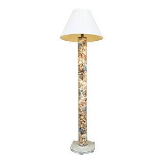 Mid 20th Century Vintage Seashell Glass Floor Lamp