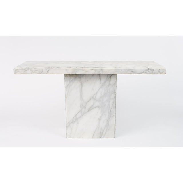 """Late 20th Century White Statuario Marble Console Table, 55.25"""" Long For Sale - Image 5 of 5"""