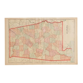 Cram's 1907 Map of Alabama For Sale
