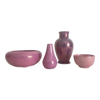 1920's Art Deco Pink Lusterware Porcelain Pottery - Set of 4 For Sale