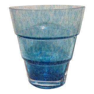 Kosta Boda Signed Swedish Azure Blue Art Glass Vase For Sale