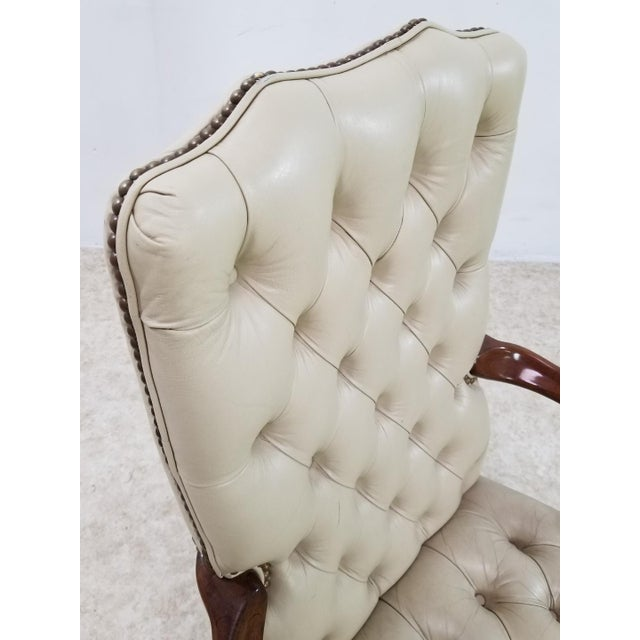 Schafer Brothers Mid Century Executive Leather and Wood Tufted Chesterfield Armchair For Sale - Image 4 of 13