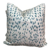 """Image of Brunschwig & Fils """"Les Touches"""" in Aqua 22"""" Pillows-A Pair For Sale"""