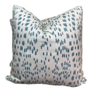 "Brunschwig & Fils ""Les Touches"" in Aqua 22"" Pillows-A Pair For Sale"