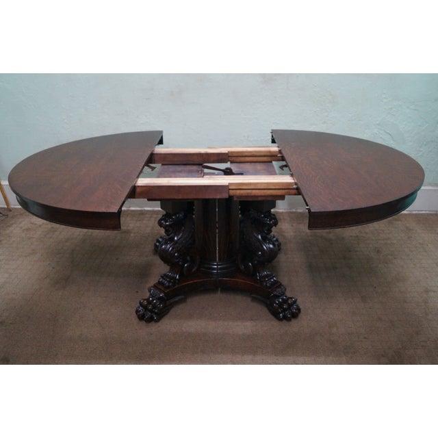 RJ Horner Antique Round Oak Griffin Dining Table - Image 7 of 10