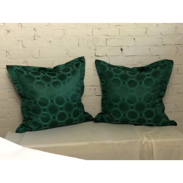 "Fabulous pair of green and emerald flange edge 24"" pillows by Jim Thompson in the Asia Major pattern. Pillows feature a..."