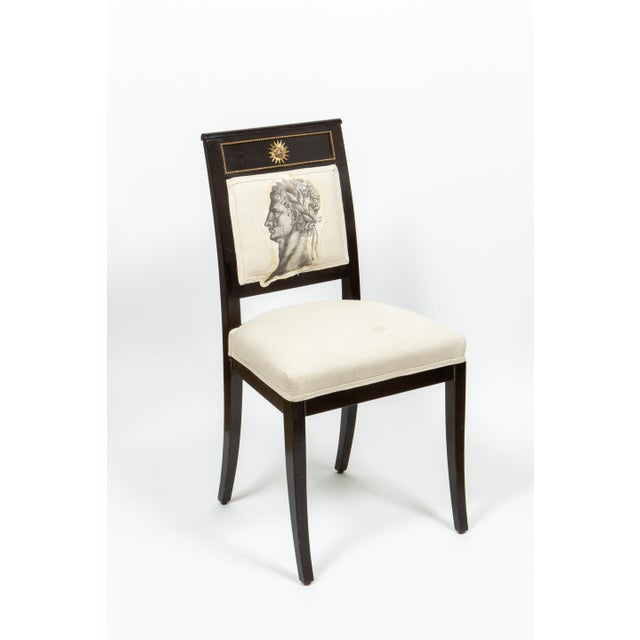 Black Ebonized Chairs with Embroidered Print - a Pair For Sale - Image 8 of 9